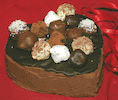 Valentine's Chocolate Heart Shaped Cake with Home-made Truffles